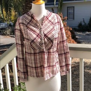 Lucky brand wool burgundy plaid top size med